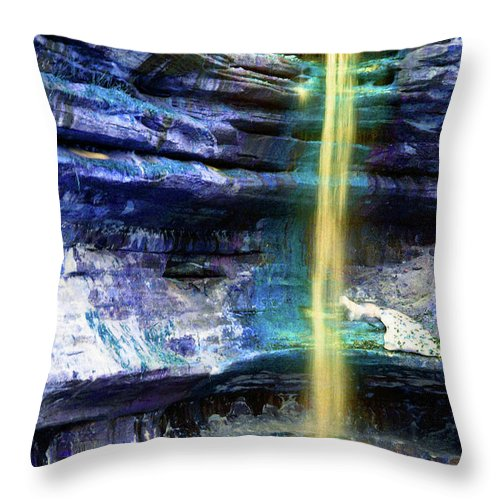 Nature Throw Pillow featuring the photograph St. Louis Canyon Liquid Gold by Alan Look