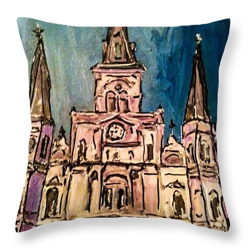 St. Louis Cathedral Throw Pillow featuring the painting St. Louis Cathedral by Paula Baker