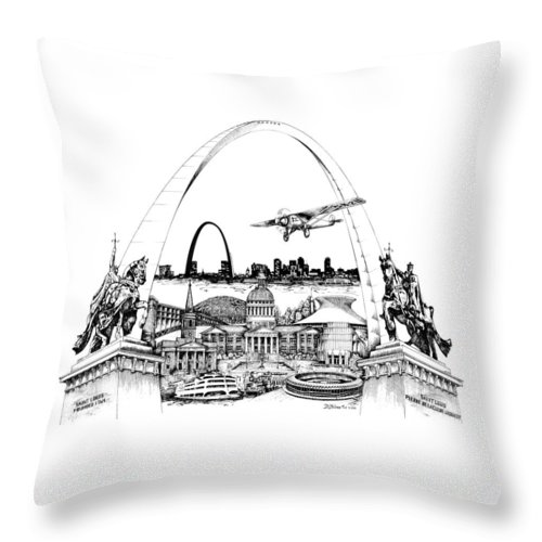 City Drawing Throw Pillow featuring the drawing St. Louis Highlights Version 1 by Dennis Bivens