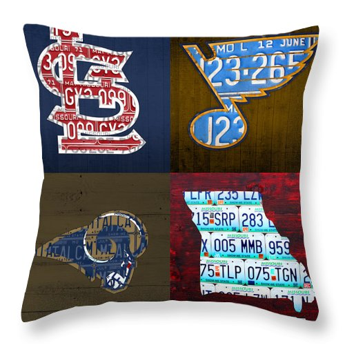 St Louis Throw Pillow Featuring The Mixed Media Sports Fan Recycled Vintage Missouri License