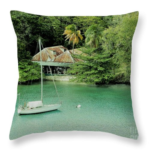 St. Lucia Throw Pillow featuring the photograph St. Lucia Mooring by Neil Zimmerman