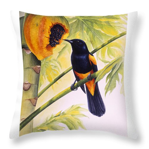 Chris Cox Throw Pillow featuring the painting St. Lucia Oriole And Papaya by Christopher Cox