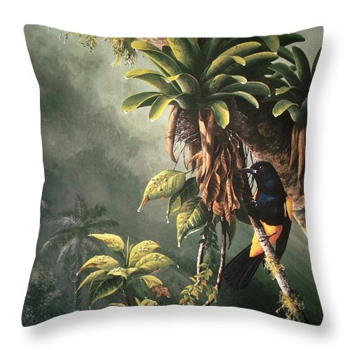 Chris Cox Throw Pillow featuring the painting St. Lucia Oriole In Bromeliads by Christopher Cox