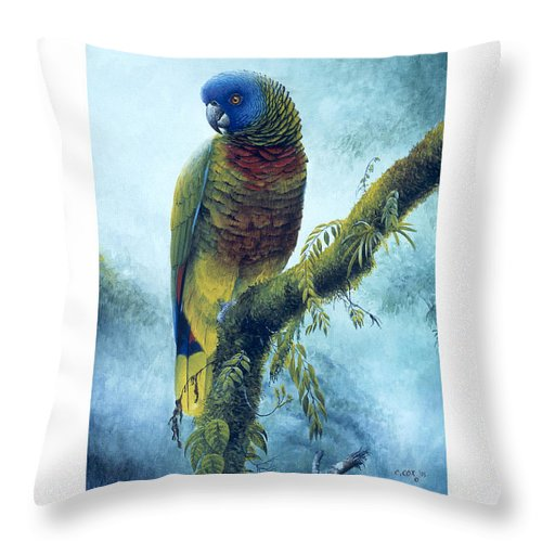 Chris Cox Throw Pillow featuring the painting St. Lucia Parrot - Majestic by Christopher Cox