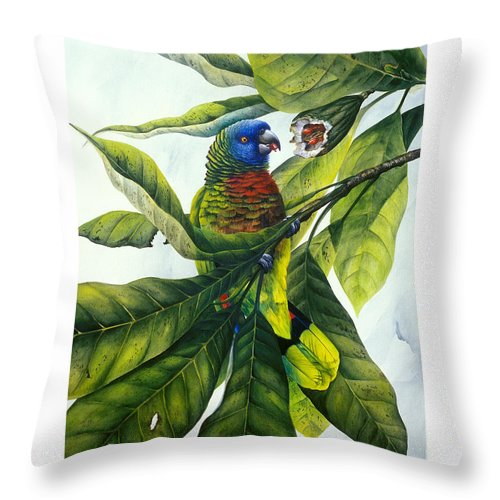 Chris Cox Throw Pillow featuring the painting St. Lucia parrot and fruit by Christopher Cox
