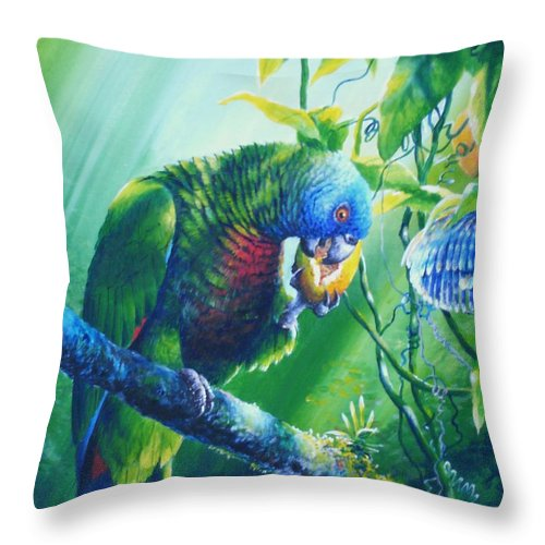 Chris Cox Throw Pillow featuring the painting St. Lucia Parrot And Wild Passionfruit by Christopher Cox