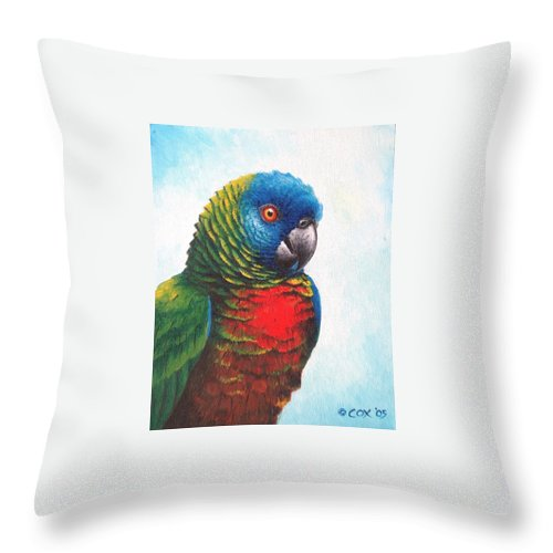 Chris Cox Throw Pillow featuring the painting St. Lucia Parrot by Christopher Cox