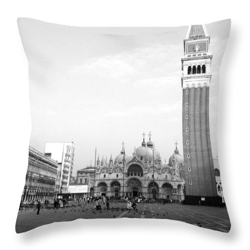 Venice Throw Pillow featuring the photograph St. Mark's Square by Donna Corless
