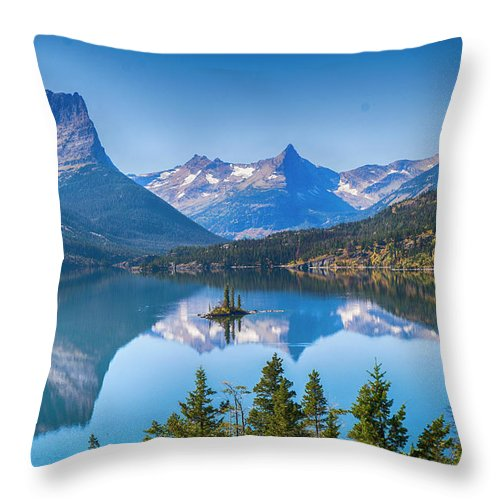 Lake Throw Pillow featuring the photograph St Mary Lake by Bryan Spellman