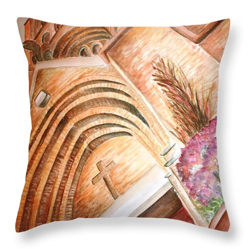 Church Throw Pillow featuring the painting St. Marys by Melissa Wiater Chaney