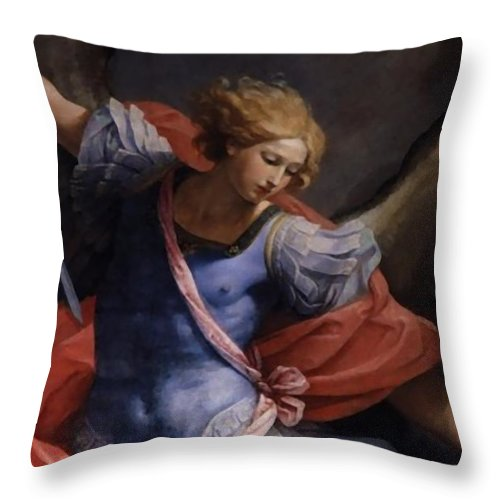 Detail Throw Pillow featuring the painting St Michael Detail by Archangelus Gallery