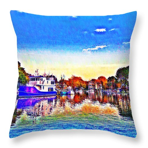 St. Michael's Throw Pillow featuring the photograph St. Michael's Marina by Bill Cannon