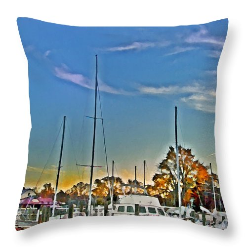St. Michael's Throw Pillow featuring the photograph St. Michael's Marina On The Chesapeake by Bill Cannon