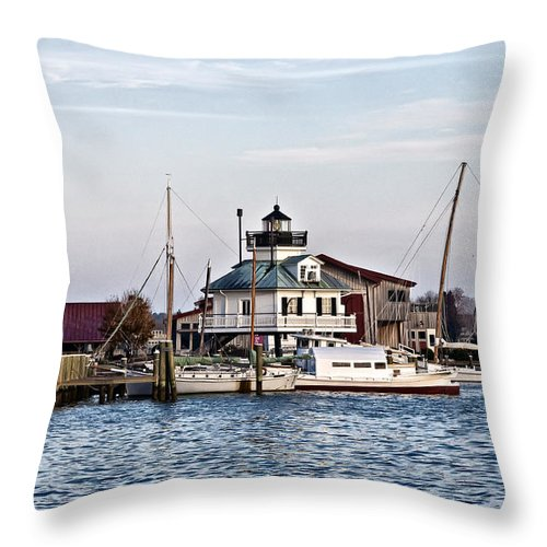 St Michael's Throw Pillow featuring the photograph St Michael's Maryland Lighthouse by Bill Cannon