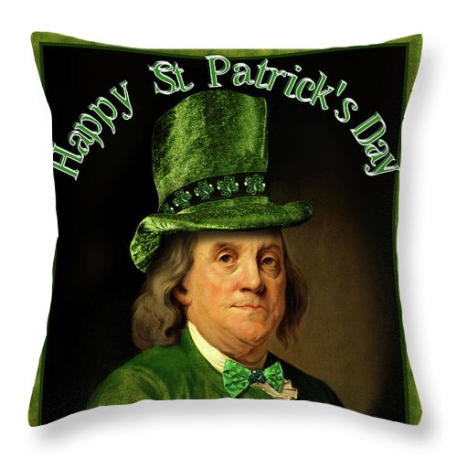 Ben Franklin Throw Pillow featuring the painting St Patrick's Day Ben Franklin by Gravityx9 Designs