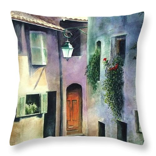 Provence Throw Pillow featuring the painting St. Paul De Vence by Madeleine Holzberg