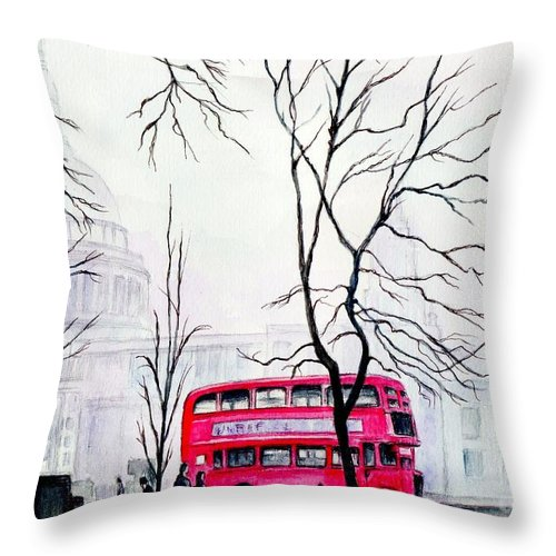 St Pauls Throw Pillow featuring the painting St Pauls Cathedral In The Mist by Morgan Fitzsimons
