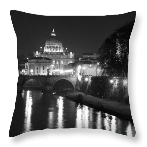 Italy Throw Pillow featuring the photograph St. Peters At Night by Donna Corless