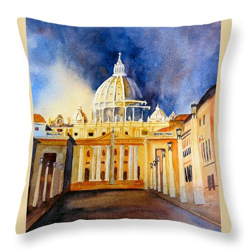 Vatican Throw Pillow featuring the painting St. Peters Basilica by Karen Stark