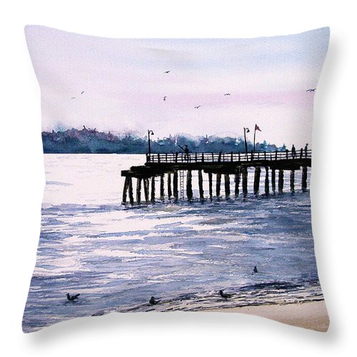 Fishing Throw Pillow featuring the painting St. Simons Island Fishing Pier by Sam Sidders