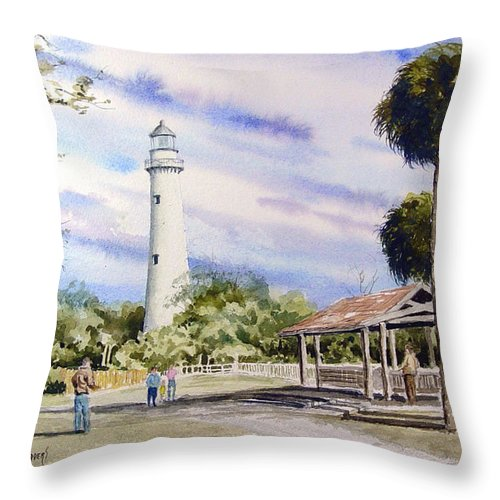 Lighthouse Throw Pillow featuring the painting St. Simons Island Lighthouse by Sam Sidders