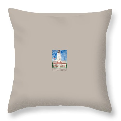 Watercolor Landscape Lighthouse Seascape Painting Throw Pillow featuring the painting St Simons Lighthouse Nautical Painting Print by Derek Mccrea