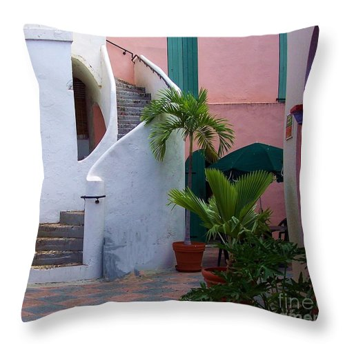 Architecture Throw Pillow featuring the photograph St. Thomas Courtyard by Debbi Granruth