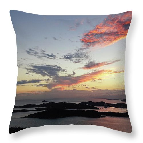 Sunset Throw Pillow featuring the photograph St. Thomas Sunset by Deborah England
