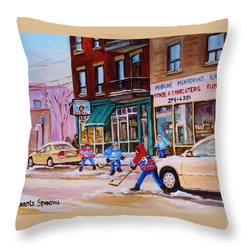 Montreal Throw Pillow featuring the painting St. Viateur Bagel With Boys Playing Hockey by Carole Spandau