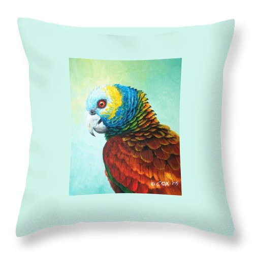 Chris Cox Throw Pillow featuring the painting St. Vincent Parrot by Christopher Cox