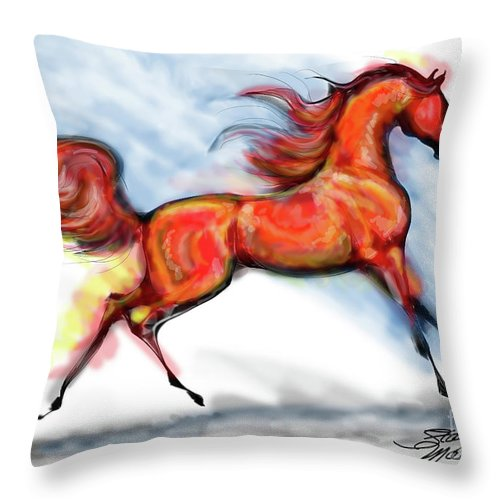 Arabian Horse Drawing Throw Pillow featuring the digital art Staceys Arabian Horse by Stacey Mayer