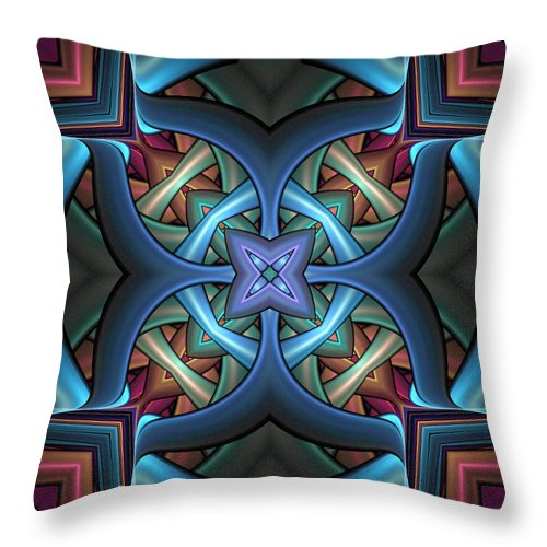 Digital Art Throw Pillow featuring the digital art Stacked Kaleidoscope by Amanda Moore