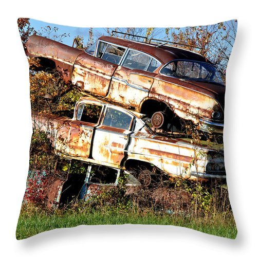 Cars Throw Pillow featuring the photograph Stacking Them Up by Jan Amiss Photography