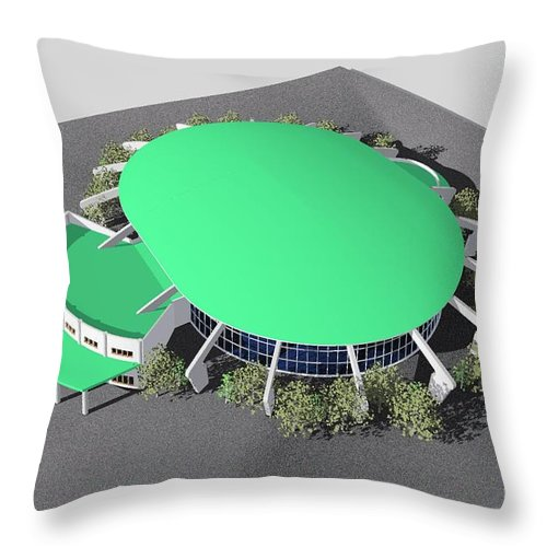 Building Rendering Throw Pillow featuring the digital art Stadium Model by Ron Bissett