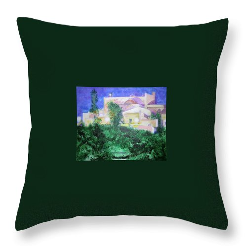 Landscape Throw Pillow featuring the painting Staeulalia Church - Lit Up At Night by Lizzy Forrester