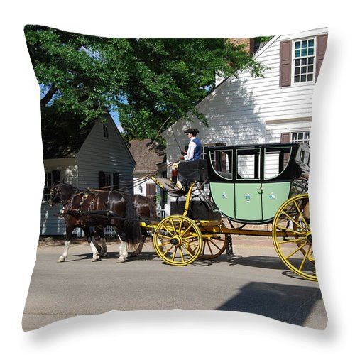 Stage Coach Throw Pillow featuring the photograph Stage Coach by Eric Liller