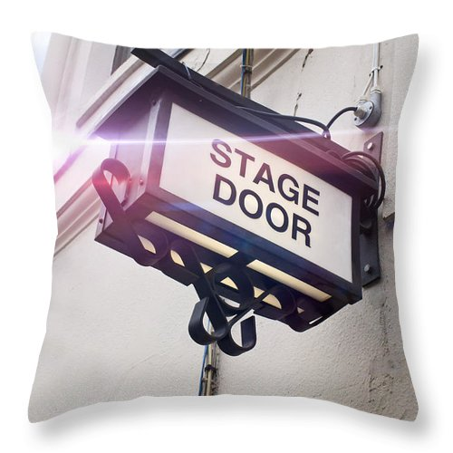 Acting Throw Pillow featuring the photograph Stage Door Sign by Tom Gowanlock