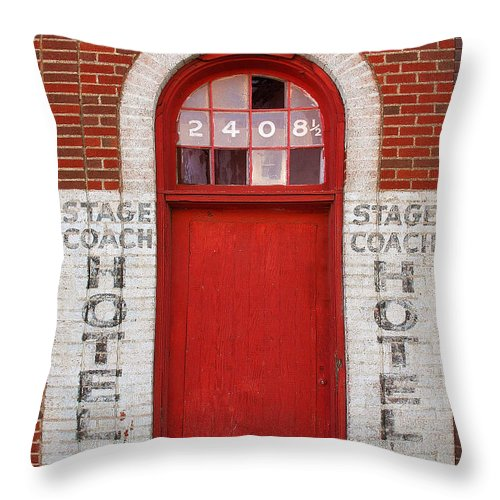 Door Throw Pillow featuring the photograph Stagecoach Hotel - Rustic Antique Red Door Home Country Southwest by Jon Holiday