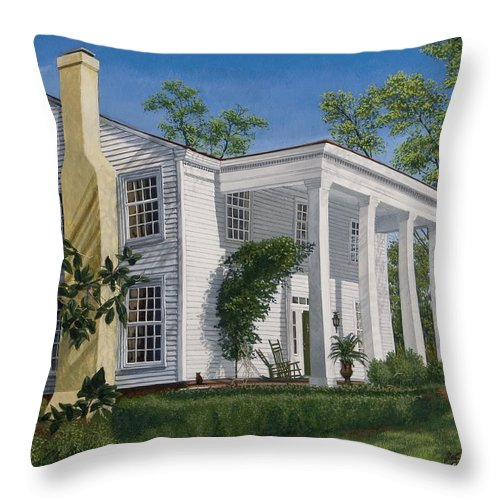 Landscape Throw Pillow featuring the painting Stagecoach Inn Madison Georgia by Peter Muzyka