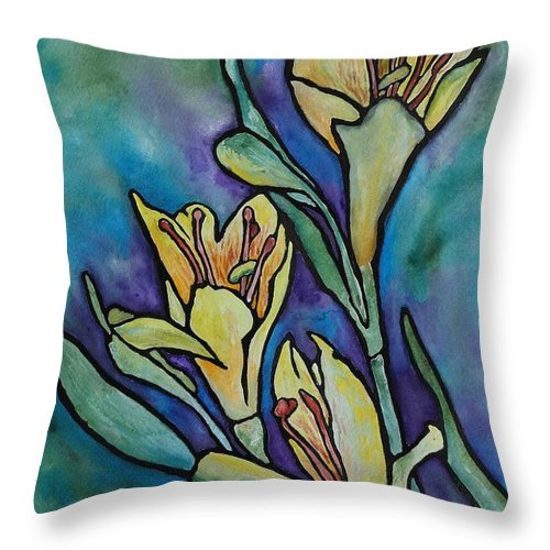 Flowers Throw Pillow featuring the painting Stained Glass Flowers by Ruth Kamenev