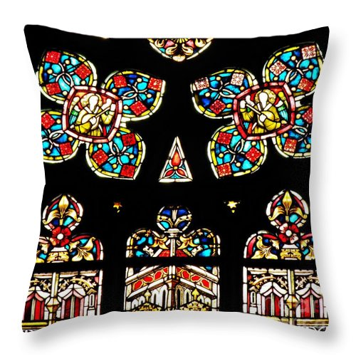 Stained Glass Throw Pillow featuring the photograph Stained Glass Glory by Sarah Loft