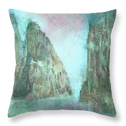 Stained Glass Throw Pillow featuring the painting Stained Glass Mountain Temple by Bruce Sanborn