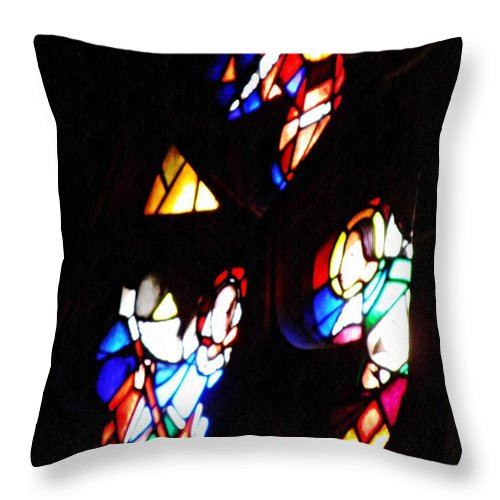 Stained Glass Throw Pillow featuring the photograph Stained Glass View by Sarah Loft