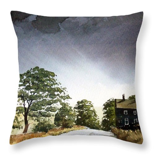 Landscape Throw Pillow featuring the painting Stainland Dean by Paul Dene Marlor
