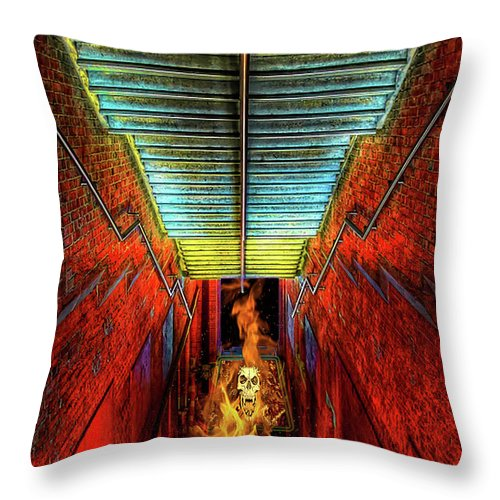 Stairs Throw Pillow featuring the painting Staircase Into Hell by Elaine Plesser