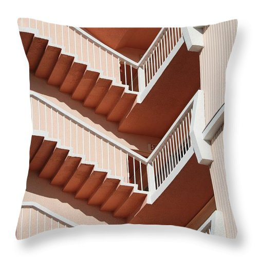 Architecture Throw Pillow featuring the photograph Stairs And Rails by Rob Hans