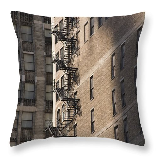 Chicago Windy City Metro Urban Building Stairs Windows Light Shaddow Throw Pillow featuring the photograph Stairs by Andrei Shliakhau