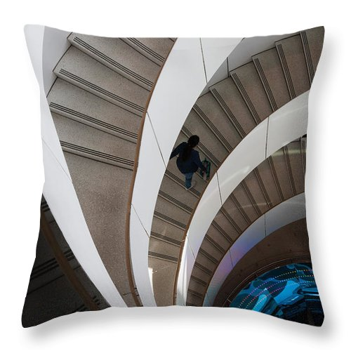 Architecture Throw Pillow featuring the photograph Stairs Bruininks Hall University Of Minnesota Campus by Wayne Moran