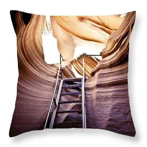 Canyon Throw Pillow featuring the photograph Stairs From Chaos by Scott Sawyer