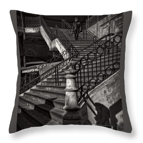 Stair Throw Pillow featuring the photograph Stairs In The Markethall by Heiko Koehrer-Wagner